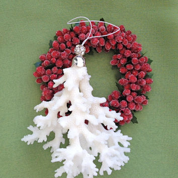 Coral Ornament - Natural Coral Decoration - Christmas Ornament - Beach Christmas Tree Ornament - Beach Ornament