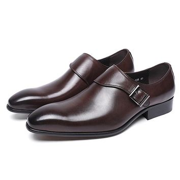 Genuine Leather Buckle Monk Strap Formal Shoes