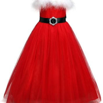 Winter Red Christmas Tutu Spaghetti Dress For Baby Girl Kids Clothes Santa Clus Fancy Ball Party Christmas Costume Baby Clothing