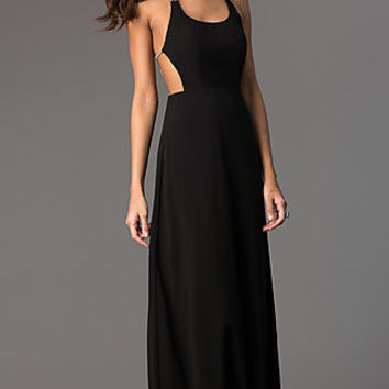 Floor Length Scoop Neck Chiffon Dress
