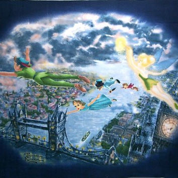 "Disney ""Off to Neverland"" TinkerBell & Peter Pan Fleece Fabric Panel - Designed by Thomas Kinkade (Great for Quilting, Sewing, Craft Projects, Wall Hangings, and More) 62"" Wide"
