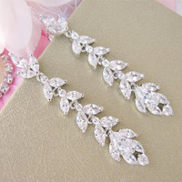 Long Leafy Vine Crystal Bridal Earrings Leaf Motif