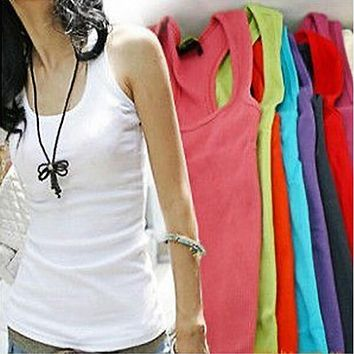 Solid Slim Women tank Tops Summer Sleeveless Jersey Cotton Tanks Camis Tees For Woman
