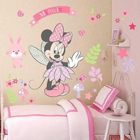 Pink Minnie Wall Sticker Cute Cartoon Mouse Wall Stickers Art Vinyl Home Decals Kids Girls Nursery Baby Girls Room Decor Mural