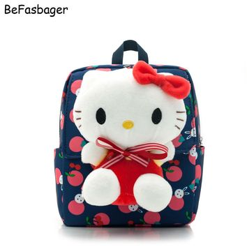 Flap-over Oxford Detachable Hello Kitty Bags Kids Backpack Toy Plush Cartoon Doll Kindergarten School Bags Gift for Baby Girls