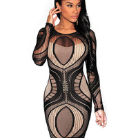 Long Sleeve Embroidery Bodycon Mini Dress with Mesh Accent