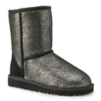 Ugg Australia Girls Kids Classic Glitter Silver Regular Suede Winter Boots