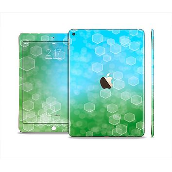 The Abstract Shaped Sparkle Unfocused Blue & Green Skin Set for the Apple iPad Air 2