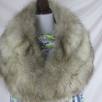 Vintage 50s HUGE Fox Fur Stole Wedding Wrap