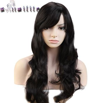 S-noilite Long 18inches Real Natural Wave Women Wigs Heat Resistant Synthetic Full Hair Wig for human party Hairpieces