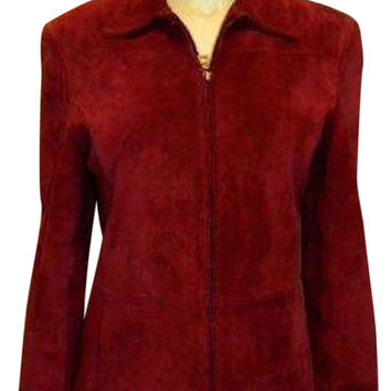 Bernardo Suede Leather Jacket Red Size X Small P382