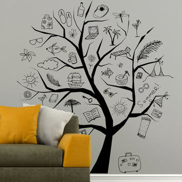 I180 Wall Decal Vinyl Sticker Art Decor Design Tree kids summer school vacation studying drawings class Living Room Bedroom