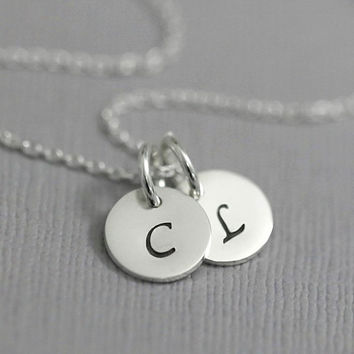 Monogram Necklace, Sterling Silver Initial Charm Necklace, Gift for Her, Gift for Mom, Christmas Gift Necklace