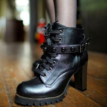 Women's Mid Heels Lace Up Round Toe Shoes Ankle Boots Bootie Rivets Strappy 1oj