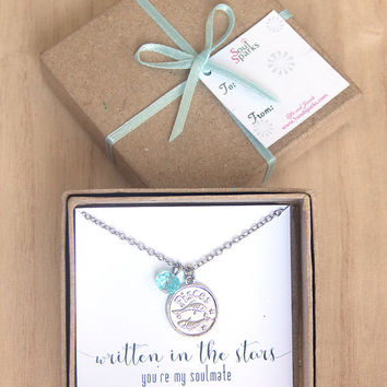Best Friend, Soulmate, Pisces Zodiac Sign Necklace -  Pisces Necklace, Aquamarine Blue Crystal, March Birthday Gift, Pisces Gift