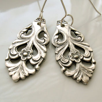 Ornate silverware earrings from vintage Swedish silverplate, handmade dangle filigree earrings, upcycled silverware jewelry