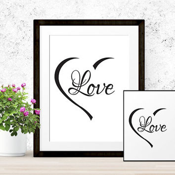 Love Heart Print | Valentine Printable | Instant Download | Love Poster | Holiday Decor | Nursery Decor | 8x10 and 5x7