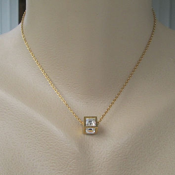 Trifari Square Cut Crystal Pendant Necklace Sparkling Vintage Jewelry