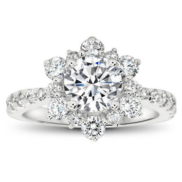 Snowflake Inspired Diamond Halo Moissanite Engagement Ring - Snowflake