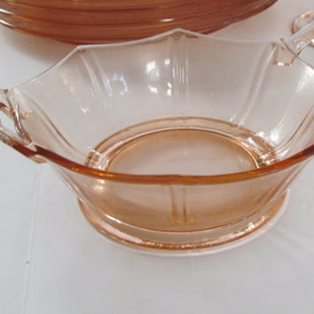 Pink Depression Glass Candy Dish Double Handle pink Glassware Art Deco Depression Glass #JUN129