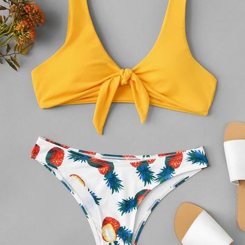 Knot Front Top With Random Pineapple Print Bikini Set