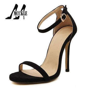 2016 New Hot Summer Sandals Women Shoes High-Heeled Ankle Strap PU+Suede Party Shoes W