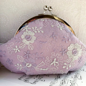 Lilac clutch, light purple clutch purse in silver frame, silver lace overlay, silk clutch, personalized bag