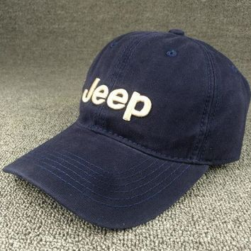PEAPDQ7 So Cool Navy Blue JEEP Embroidered Baseball Cap Hat