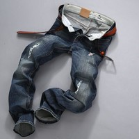 Vintage Weathered Ripped Holes Stretch Slim Pants Jeans [6527212483]