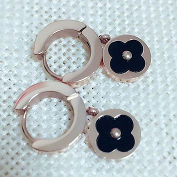 Cartier fashion classic titanium steel plated rose gold round four-leaf clover pendant earrings female earring accessories