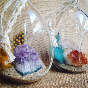 Crystal Garden Hanging Glass Garden Crystal Decor Raw Crystal Healing Crystals and Stones Bohemian Decor Gypsy Boho Hippie
