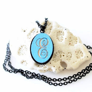 Personalized Hand Painted Laser Engrave Wood Monogram Necklace - Custom Initial - 23 Colors Available