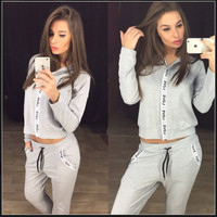 Women's Fashion Alphabet Print Hats Hoodies Pants Sportswear Set [9839925263]