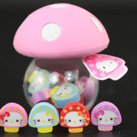 Eight Baby Hello Kitty Mushrooms with Pink Cap