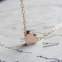 Rose gold heart necklace - gold necklace with heart in rose gold