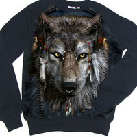 DJ FEN Pierced Wolf Photo Native Indian Sweatshirt
