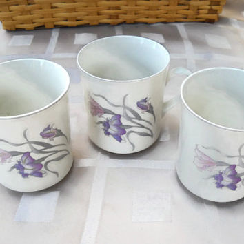 Vintage  1988 China Pearl Stoneware Orchid Flower Pattern 8748 Coffee Mug Tea Cup