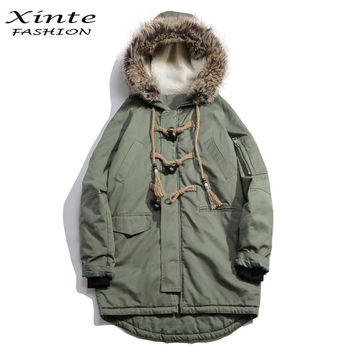 2016 Men Brand Winter Jackets Cotton Padded Coat with Real Fur Trim Hood Loose Outwear Parkas Horn Button Christmas Gift