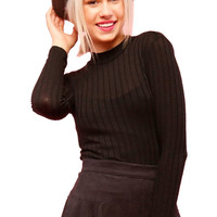 Long Sleeve Mock Turtleneck Knit Top