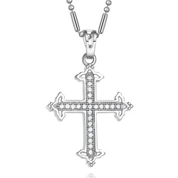 Cute Small Magical Cross Protection Powers Amulet Silver-Tone Sparkling Crystals Pendant Necklace