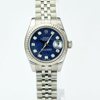 Rolex Lady Datejust White Gold Sodalite Diamond 179174 Rehaut -WATCH CHEST