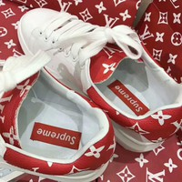 Supreme x LV Old Skool Flats Sneakers Sport Shoes Red G-AGG-CZDL