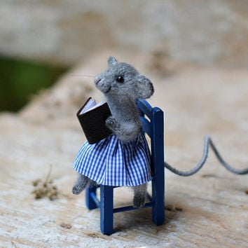 Knitted mouse home decoration blue home decor animal rustic decor cute gift library decor gray blue cute animal knitted animal woodland