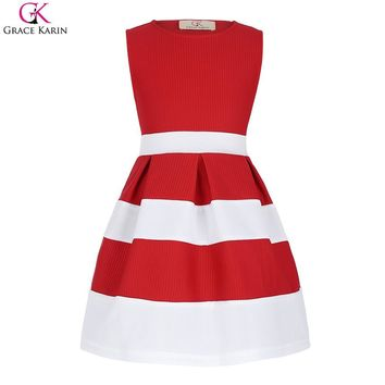 Grace Karin Flower Girl Dresses Summer For Wedding Party Pageant Evening Gowns Kids Prom Princess Girls Fashion Striped Dresses