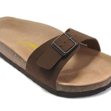 2017 New Birkenstock Summer Fashion Leather Cork Flats Beach Lovers Slippers Casual Sandals For Women Men black Couples Slippers size 36-45-1