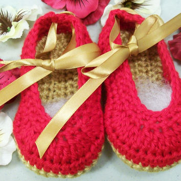 Baby  Ballerinas-Hot Pink Baby Shoes-Crochet--Baby Shower Gift--#171
