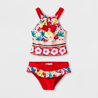 Floatimini Toddler Girls' Flower Tankini Set - Red