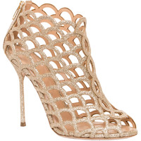 Sergio Rossi Women's Goldtone Mermaid Glitter Cut-out Heel