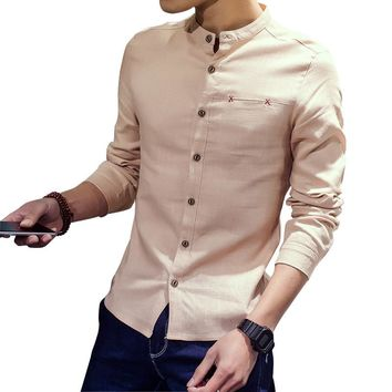 Men Shirts Linen Stand Collar Cotton Linen Long For Man Clothing Flax Solid Men's Shirt Casual Single Breasted Slim Size M-3XL