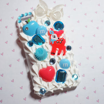 Pink and blue  iPhone 4 decoden case by madikawaii on Etsy